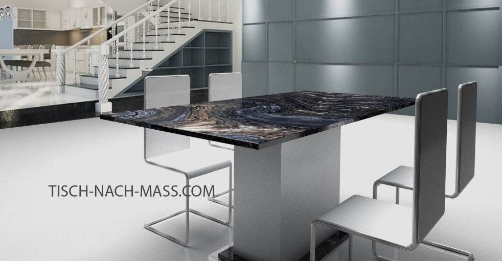 Esstisch mit Silver Brown Wave Granit und Tischgestell aus pulverbeschichtetem Edelstahl