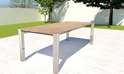 Gartentisch mit Granitplatte