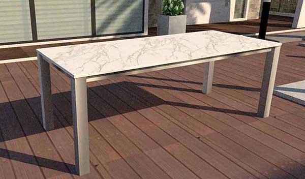 Gartentisch mit Keramik oder Granit