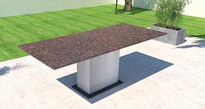 Granit Gartentisch mit Edelstahl
