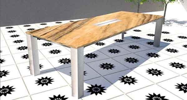 Granit Gartentisch mit Feuerstelle