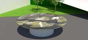 Loungetisch rund mit Steinplatte